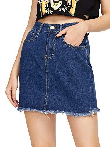 Milumia Women's Casual A Line Button Fray Denim Jean Short Skirt Blue Large