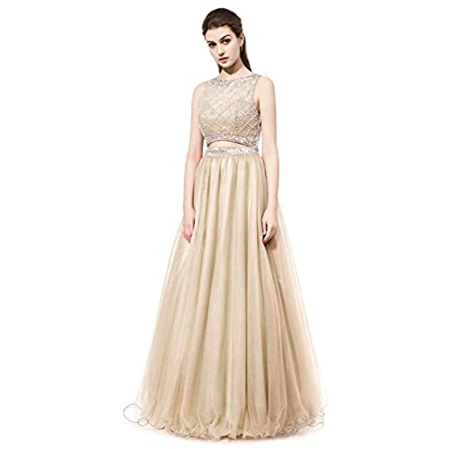 DRESSTELLS Long Prom Dress 2016 Two Pieces Tulle Evening Gowns With Beads Champagne Size 10