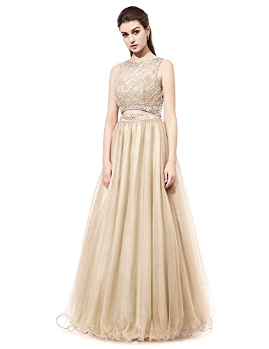 DRESSTELLS Long Prom Dress 2016 Two Pieces Tulle Evening Gowns with Beads Champagne Size14