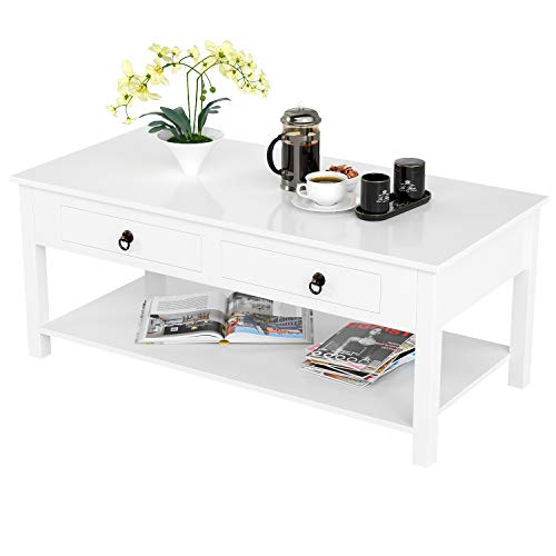 (HOMECHO Coffee Table Sofa Table with 2 Bidirectional Drawer and Storage Shelf for Living Room White Color HMD-018)