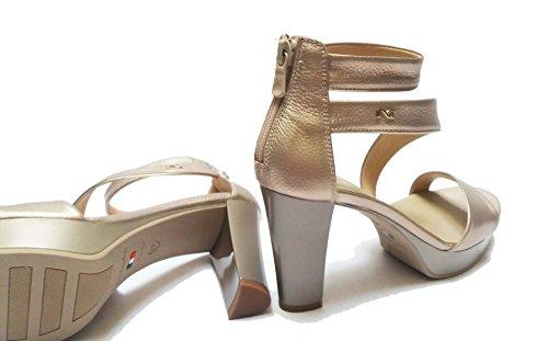 Sandali Sul Donna 37 Col Tallone Cm Giardini In Tacco 5 8 Pelle num Nero Cerniera Platino 5600 Da RwExIvq
