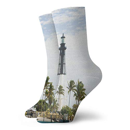(States Lighthouse Beach Florida Atlantic Ocean Palms Coast Classic Fashion Mens Short Socks Cotton Ankle Socks Printed)