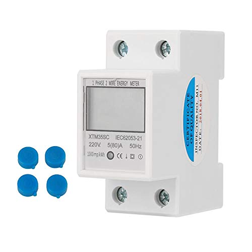 Electric Meter, 220V 5(80) A Reliable Home Digital 1-Phase 2 Wire 2P Din-Rail Electric Meter Electronic Kwh Meter ()