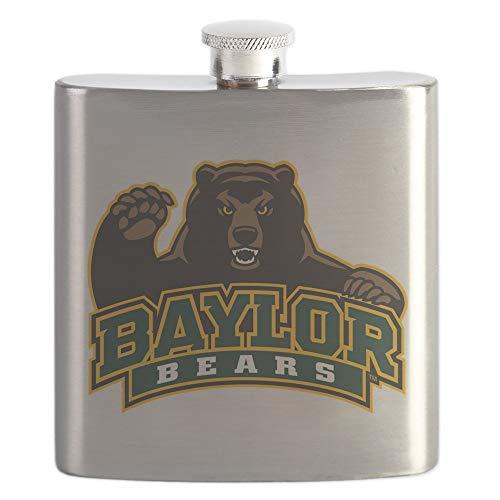 CafePress Baylor Bears Stainless Steel Flask, 6oz Drinking Flask Baseball 6 Ounce Flask