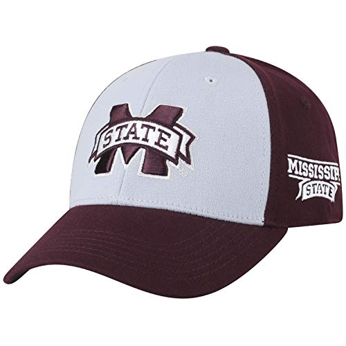 Top of the World NCAA-Premium Two Tone-One-Fit-Memory Fit-Hat Cap-Mississippi State Bulldogs