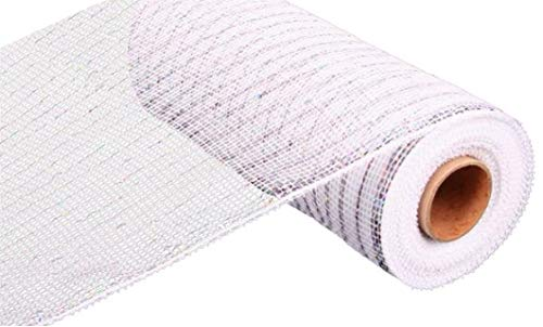 10 inch x 30 feet Deco Poly Mesh Ribbon - White with Silver Foil : RE130127 -
