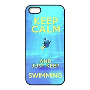 DiyCaseStore Keep Calm and Just Keep Swimming Redux Iphone 5 5s New Style Durable Case Cover