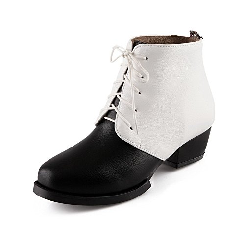 Women's Low-Top Assorted Color Lace-Up Round Closed Toe Low-Heels Boots