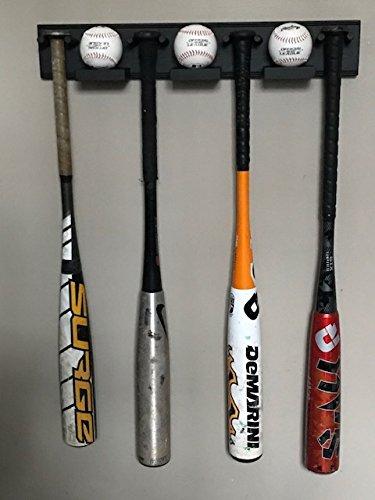 Baseball Bat Ball Display Holder Rack 4 Full Size Standard Bats 3 Balls Black Wood by MWC