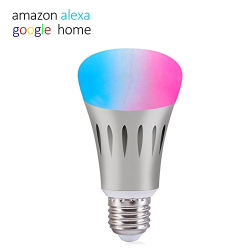 Smart LED Light Bulb, WIFI Light Bulb Works with Alexa and Google Home, Cellphone Control Dimmable and Multicolor, A19 7W (60W Equiv.), No Hub Required