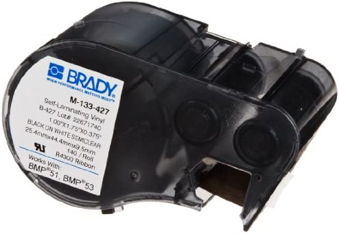Amazon.com: Brady M-133-427 Vinyl B-427 Black on White/Clear ...