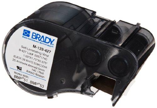Brady Colored Labels (Brady M-133-427 Vinyl B-427 Black on White/Clear Label Maker Cartridge, 1-3/4