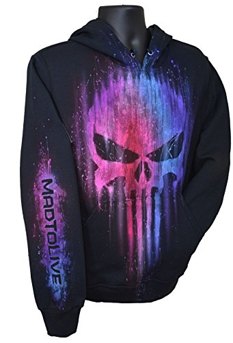 Airbrushed Clothing (Exotic Gamer Gear The Punisher Hoodie Limited Edition Multi-Color Airbrushed Tribute + Name, XXL, Black)