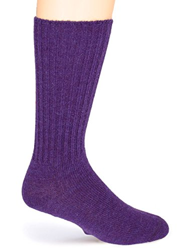 Alpaca Socks - Warrior Alpaca Socks - Women's Ribbed Casual Alpaca Socks (Medium, Purple)