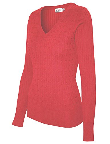 Cielo Women's Basic Solid Stretch V-neck Cable Knit Pullover Sweater Coral L -