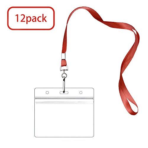Lanyard with ID Badge Holder Name Tags Card Labels Lanyards String Keys Custom Necklace J Hooks Clip RED Vertical 12 Sets Plastic Sleeve Cover Clear Waterproof Nametags Protectors Nurse School Kids ()