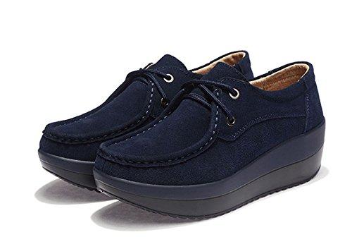 Chaussure JRenok Enfiler et Automne avec Femme Suède Mode Bleu Tête Chaussure à Confortable Epais la Casual Elégante Rond Pente Chaussure Semelle SSqrUd