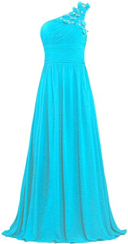 ANTS Formal Bead Flowers One Shoulder Prom Dresses Long Evening Gowns Size 10 US Turquoise