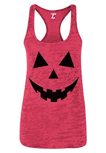 Pumpkin Face - Halloween Costume Women's Racerback Tank Top (Pink, X-Large)]()