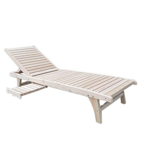Ainfox Summer Promotion Wooden Chaise Lounge Deck Chair Outdoor Adjustable Furniture Beach Patio Deck Garden Decor Seat