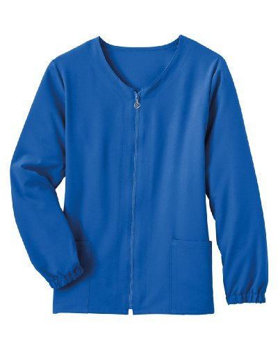 Jockey Ladies Zipper Warm-Up Cardigan Style Scrub Jacket Teal X-Large