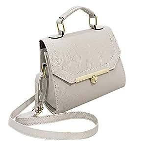 Amazon.com: Leather Women Handbag Vintage Frame Messenger ...