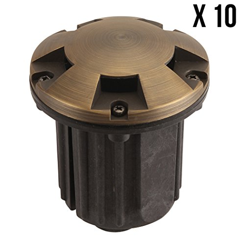 LFU - 10 Pack of Verona Brass Constructed Well Lights. Low Voltage. Antique Bronze Finished. 10LF3005AB,
