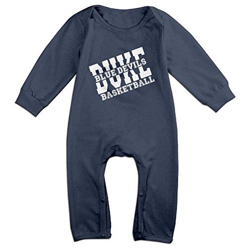 [Dara Duke Blue Devils Basketball Boy's & Girl's Long Sleeve Romper Bodysuit Outfits Navy 6 M] (Devil Girl Outfit)