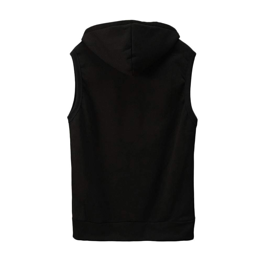 WUAI Clearance Men's Hoodie Jackets Sleeveless Slim Fit Waistcoat Solid Color Athletic Sports Tops(Black,US Size M = Tag L) by WUAI (Image #1)