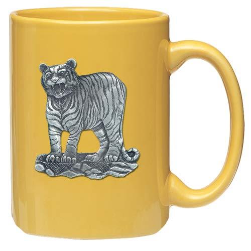 (1pc, Pewter Tiger Coffee Mug, Yellow)