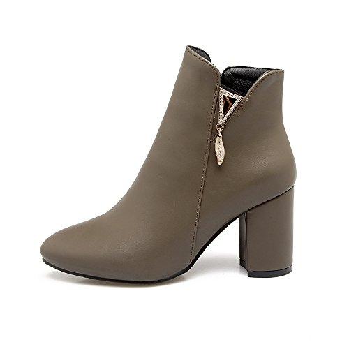 JIEEME Ladies Zip Round Toe Block Heels Boots Fashion Khaki Black High Heel Ankle Boots Khaki AXZN3J0KVs