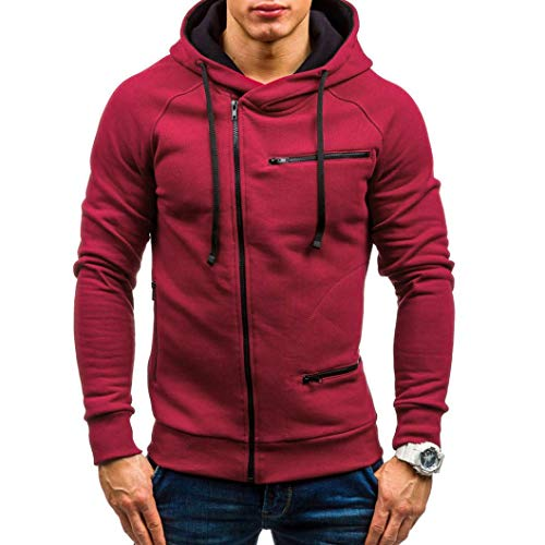 NRUTUP Men Turtleneck Sweater, Autumn Winter Casual Solid Full-Zip Long Sleeve Hoodie Sweatshirt Top Outwear Coat HOT! Red ()