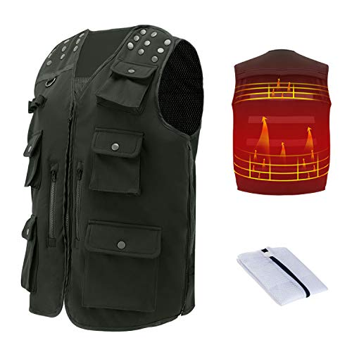 rocboc Heated Vest Multifunctional Heated Body Warmer Clothing Muti Pockets Fly Fishing Vest Tactical Vest Specially Design for Camping Travel Photography Outdoor Hiking Motorcycle Skiing Golf