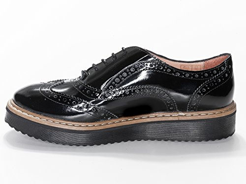 Lazamani 64-004 Damen Schnürr Schuhe Lack Sneaker Budapster schwarz
