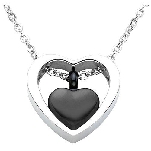 (Jovivi Stainless Steel Double Heart Black Cremation Urn Necklace Pendant Funnel Fill Kit Keepsake Memorial Ashes)