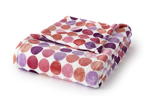 (Fraiche Maison T1111068-MM-B0056 Velvet Plush 60x70 Throw Hot Pink Dots, )