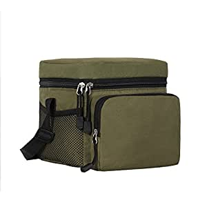 ORICSSON Cooler Bag Tote Insulated Lunch Box 9-Can Adjustable Strap Freezable Bag with Zip Closure Green