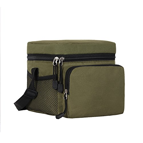 Side Bagger - ORICSSON 4.9L Cooler Bag Tote Insulated Lunch Box Adjustable Strap Freezable Bag with Zip Closure Green