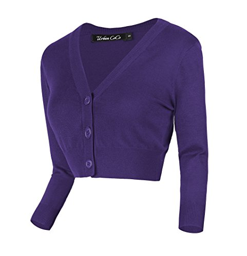 (Urban CoCo Women's Cropped Cardigan V-Neck Button Down Knitted Sweater 3/4 Sleeve (M, Purple))