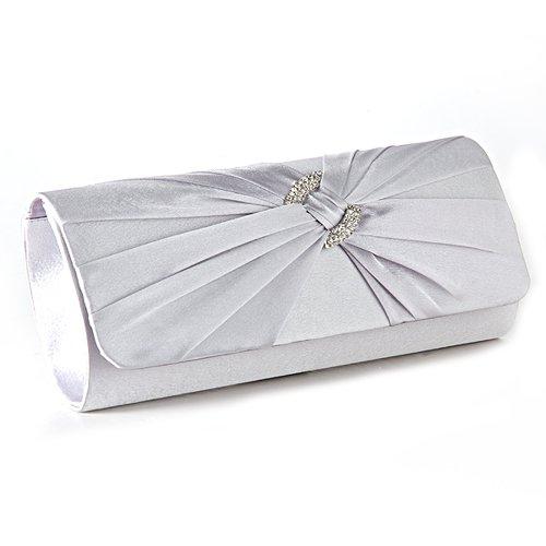 Anladia Satin Diamante Pleated Evening Clutch Bag Bridal Handbag Prom Purse (Silver Satin Evening Bag)