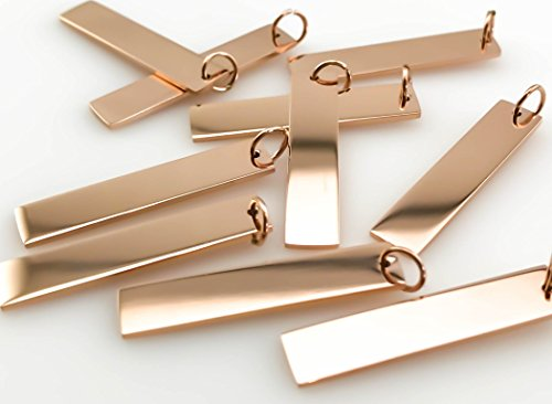 Plated Stainless Steel Vertical Bar Blank Pendant (1.25 inch x 0.25 inch, Rose Gold) ()