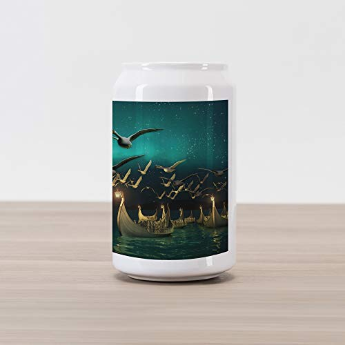 Ambesonne Fantasy Cola Can Shape Piggy Bank, Medieval Boats Birds Flying Mystical Adventure Illustration, Ceramic Cola Shaped Coin Box Money Bank for Cash Saving, Teal Dark Teal Sand Brown (Mystical Boat)