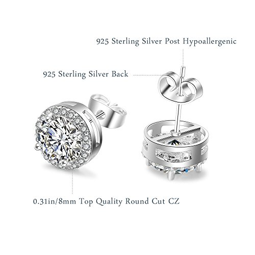 Earings for Woman 925 Sterling Silver Round Cut Cubic Zirconia Stud Earrings Mother's Day Gift for Women, Gift Packaging
