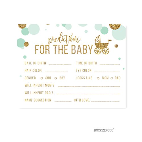 Gold Mint Card - Andaz Press Mint Green Gold Glitter Boy Baby Shower Party Collection, Games, Activities, Decorations, Predictions for Baby Cards, 20-pack