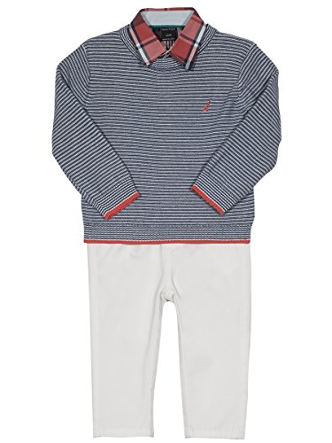 Nautica Baby Boys' Long Sleeve Button Down Shirt, Pullover, and Short with Faux Belt Set, Medium Blue/Plaid, 24 Months (Nautica Newborn Boy Clothes)