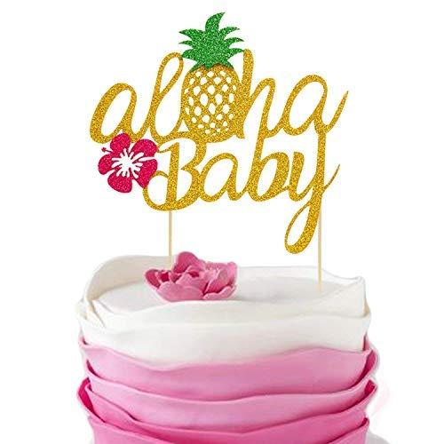 4fe6478d286f Pineapple Cake Toppers Aloha Baby Shower Birthday Glitter Decorations  Hawaiian Tropical Beach Pool Laua Party Favor