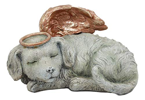 """Ebros Heavenly Halo Angel Dog Urn Statue 8"""" Long Pet Memorial All Dogs Go to Heaven"""