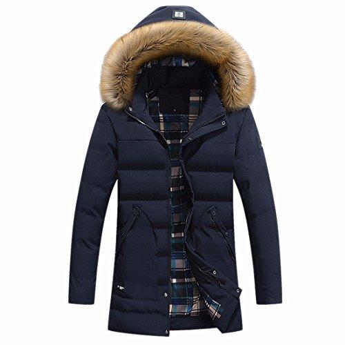 Invierno Con Qiyun Azul z Abrigo Chaqueta De Sintética Engrosar Los Abrigadora Hombres Piel Capucha da8Xr8Wq
