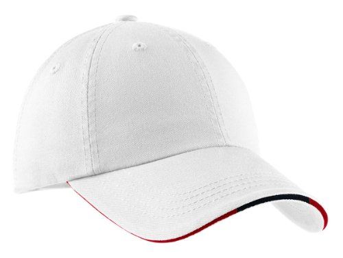(Port Authority Signature - Sandwich Bill Cap w/ Striped Closure, White/Classic Navy/Red)