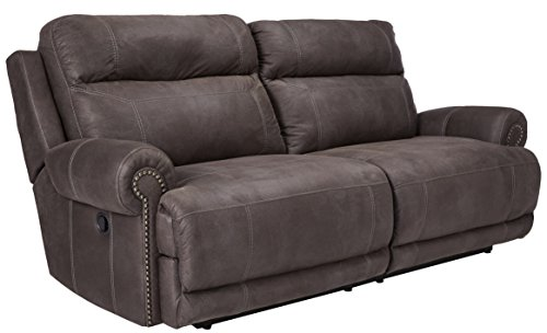 - Ashley Furniture Signature Design - Austere Recliner Sofa - Manual Pull Tab Reclining Couch - Contemporary - Gray